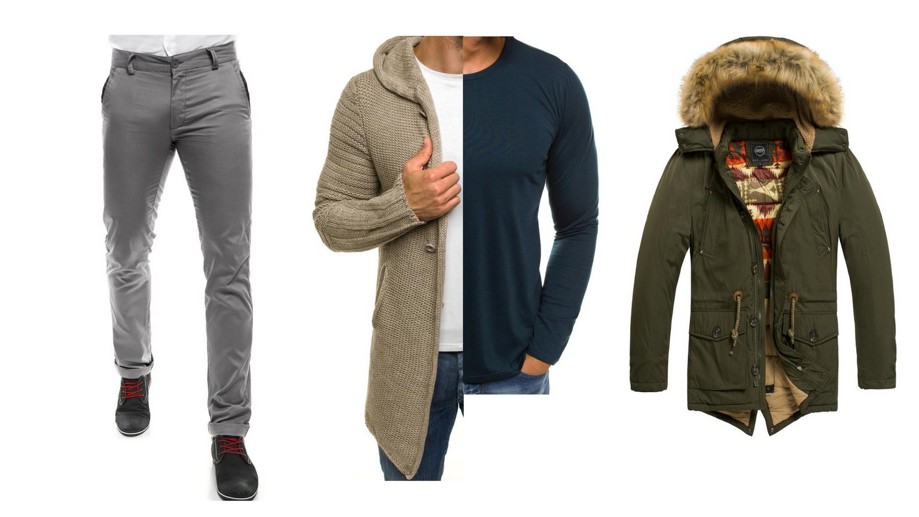 stylizacja zimowa - sweter długi męski