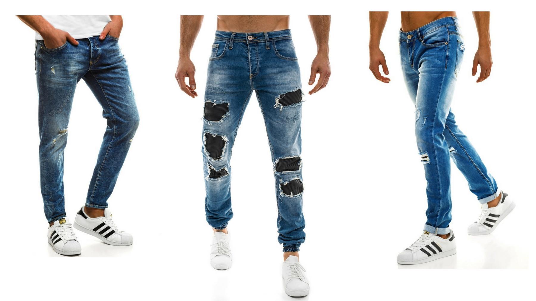 Dziurawe przetarte poszarpane jeansy