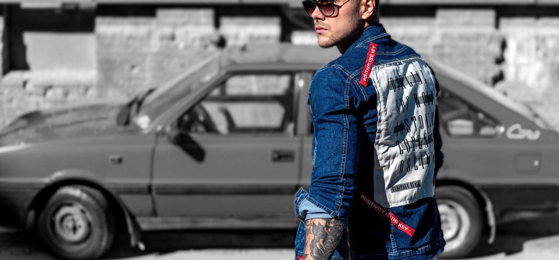 Kurtka jeansowa męska z nadrukiem