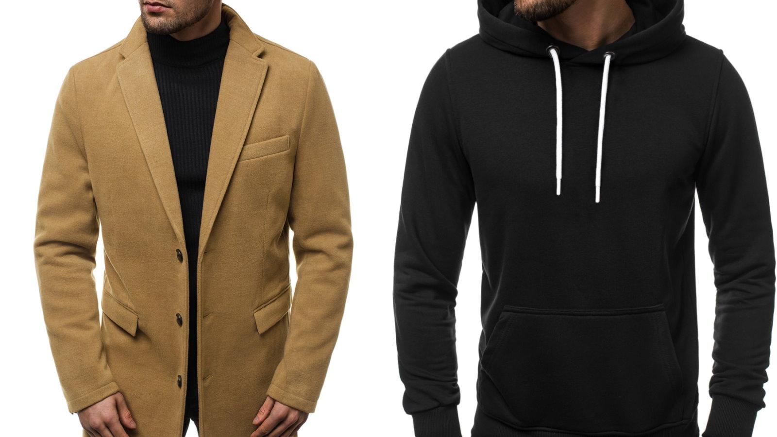 bluza z kapturem i płaszcz
