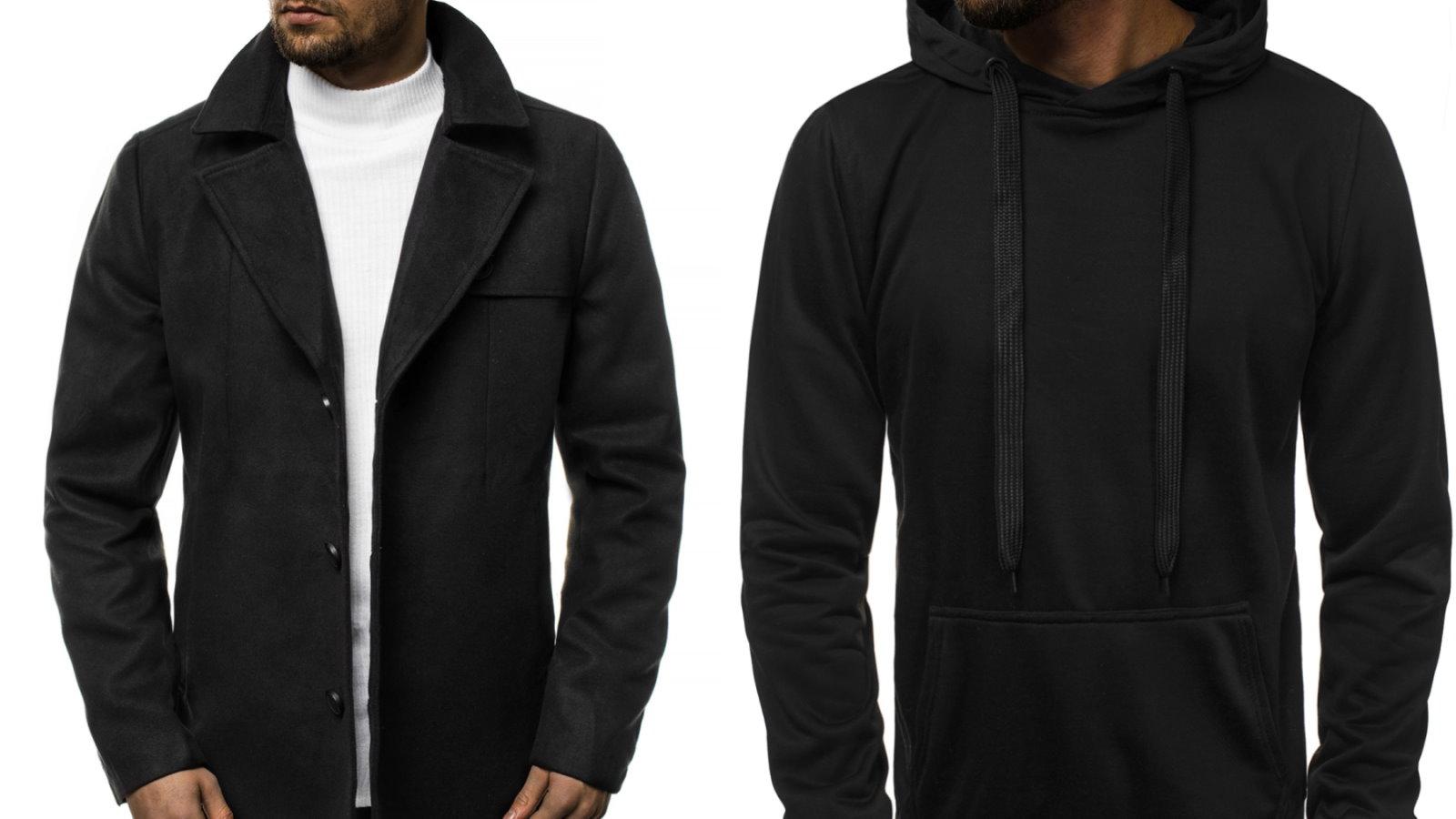 czarny płaszcz i czarna bluza