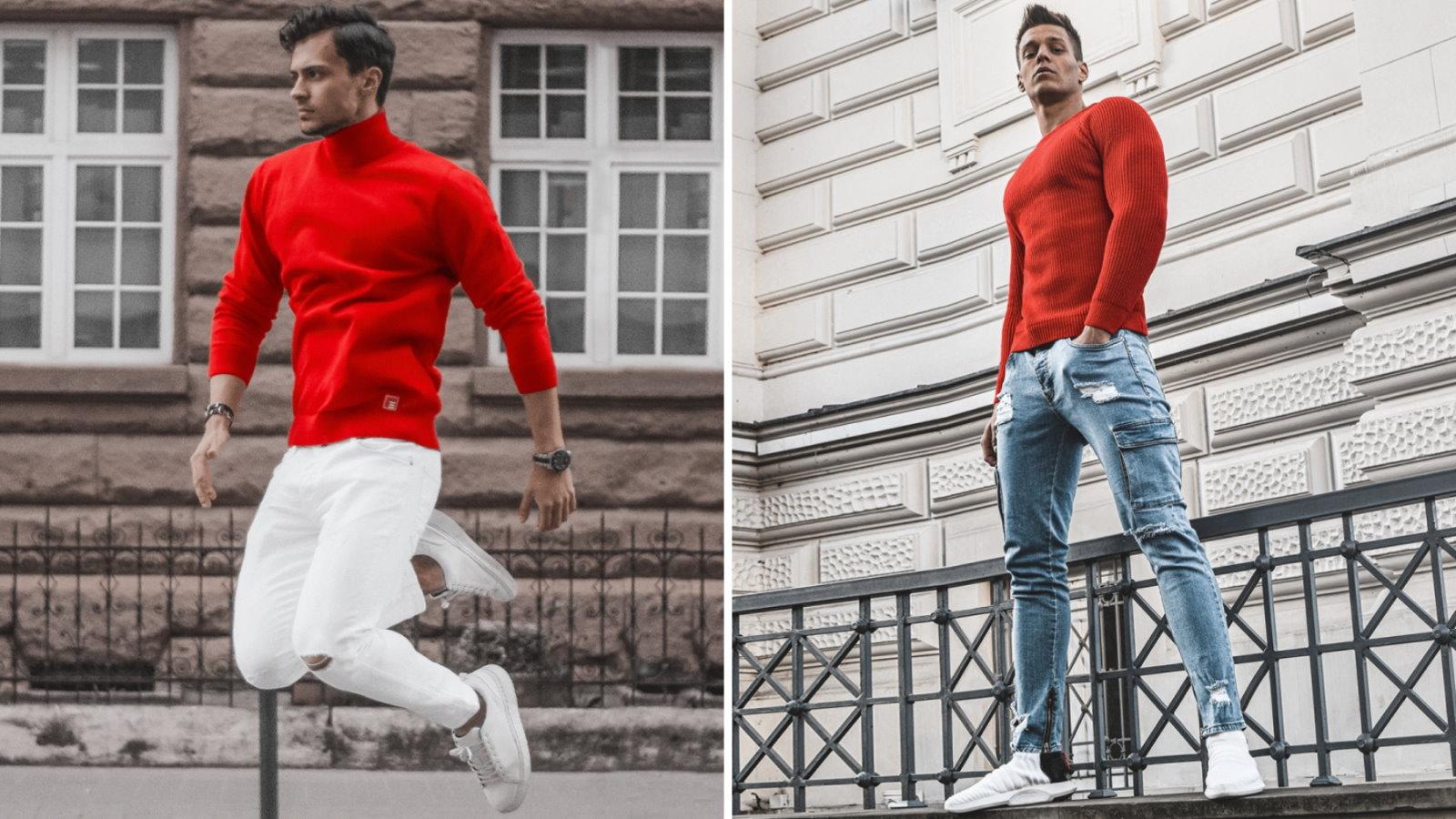 czerwone swetry męskie