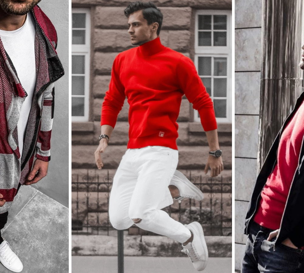 czerwony sweter