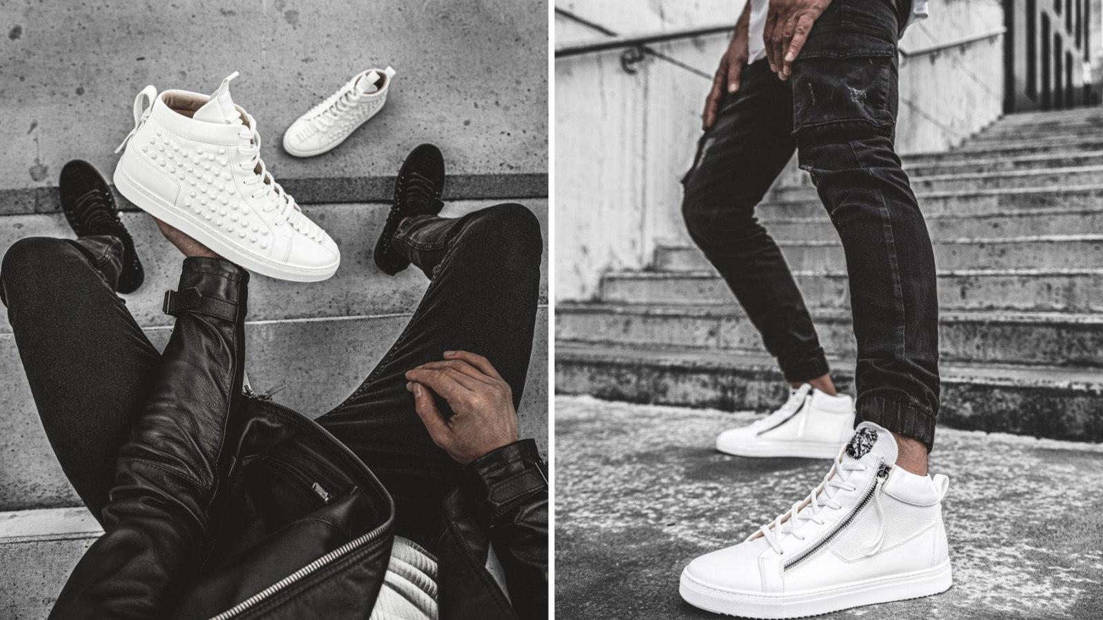 białe sneakersy i czarne spodnie