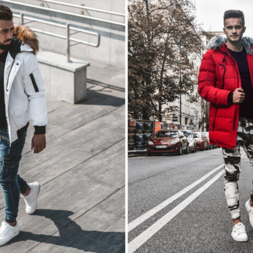 stylizacja z białymi sneakersami