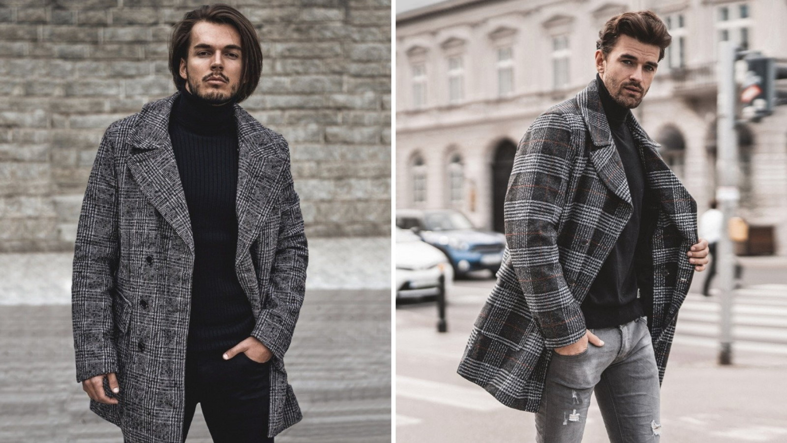 płaszcz męski w kratę
