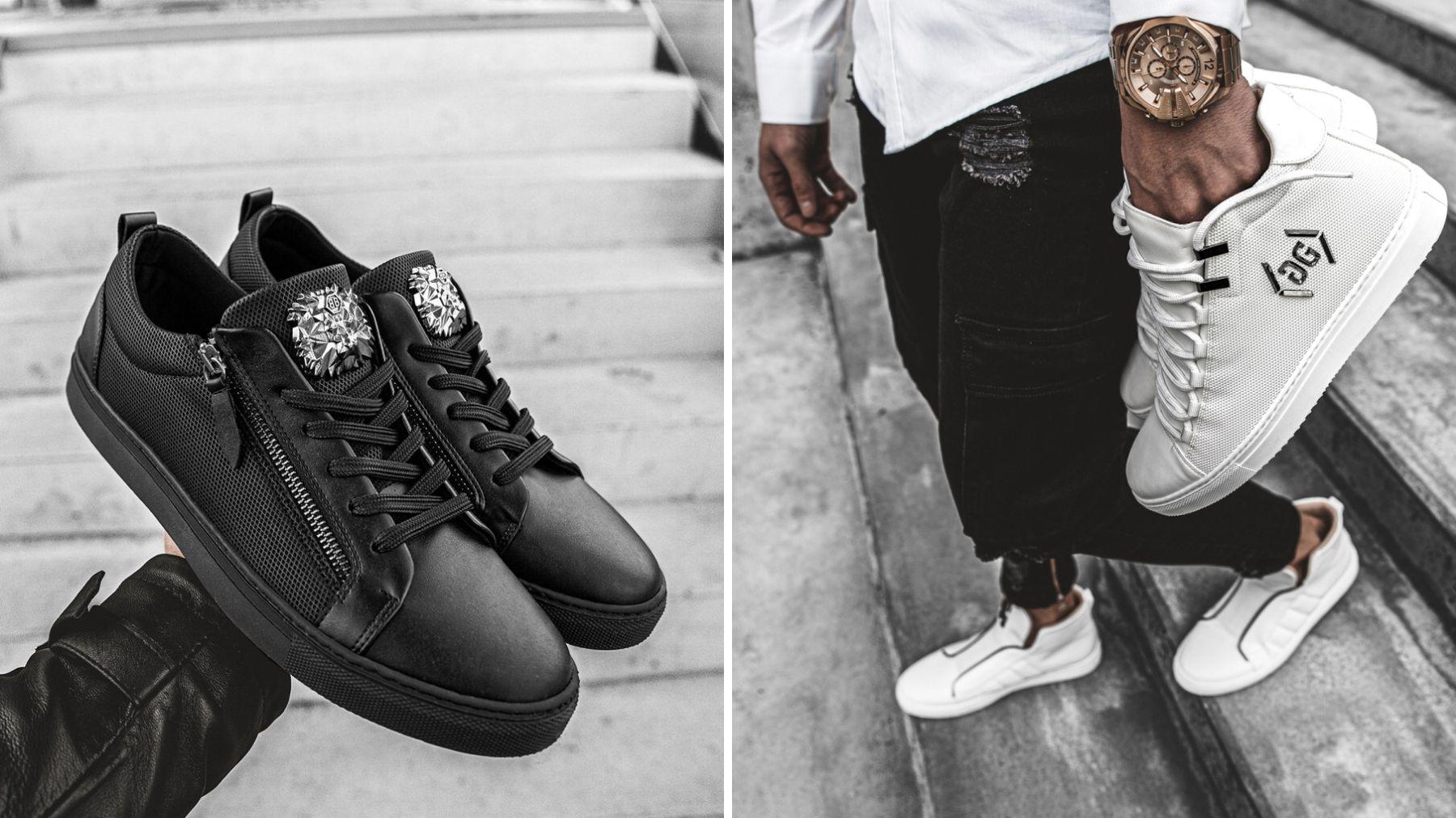 czarne i białe sneakersy