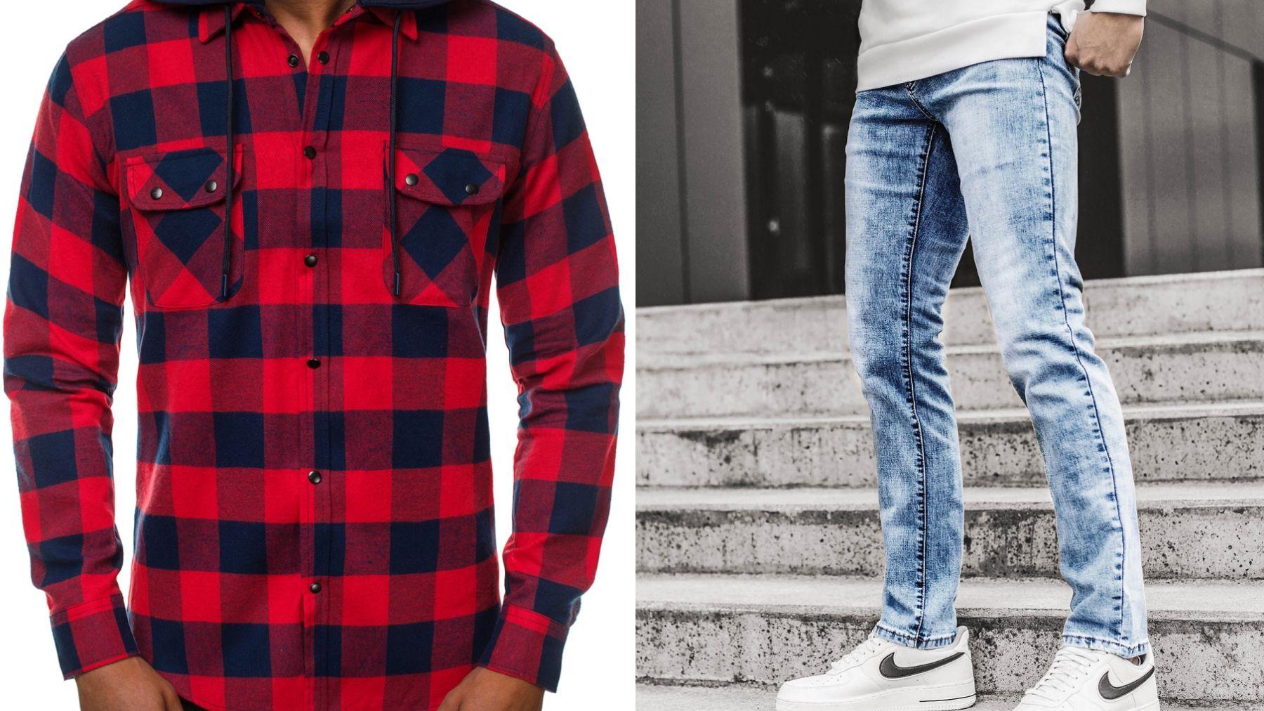koszula flanelowa i jeansy