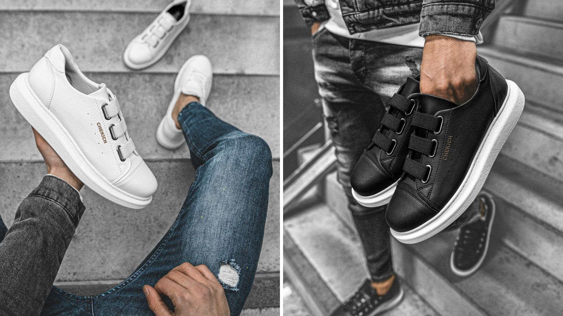 sneakersy białe i czarne