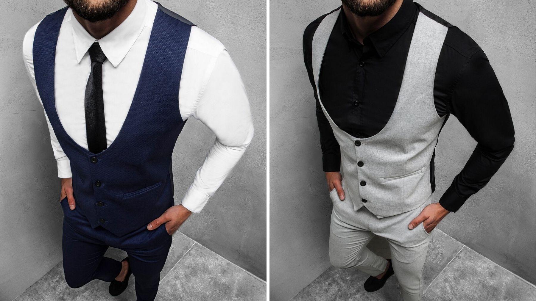 komplet - kamizelka i spodnie chino