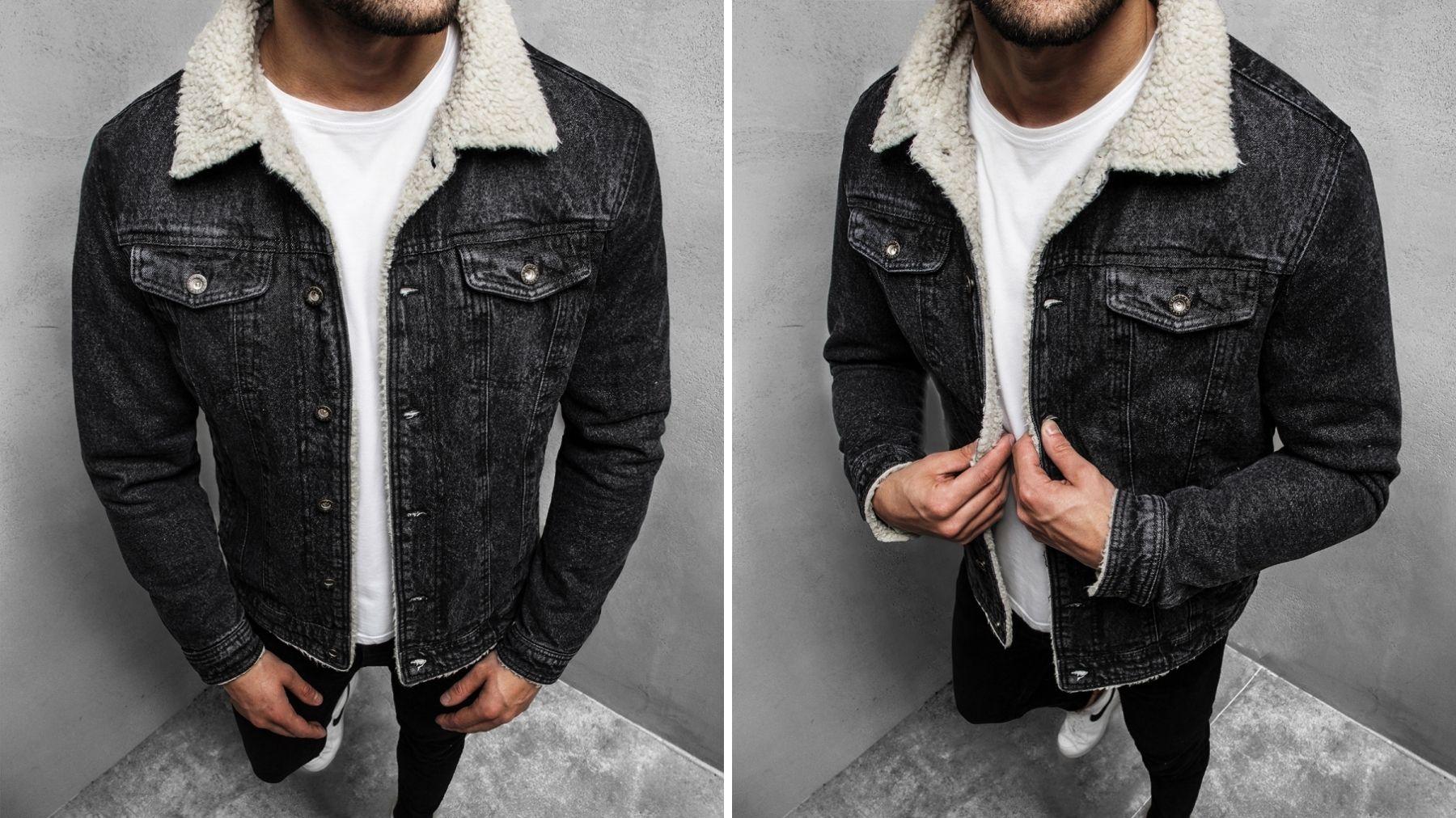 czarna kurtka jeansowa z kożuchem
