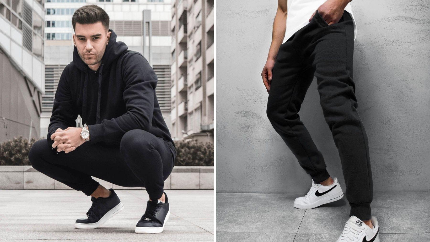 styówka męska z czarnymi spodniami