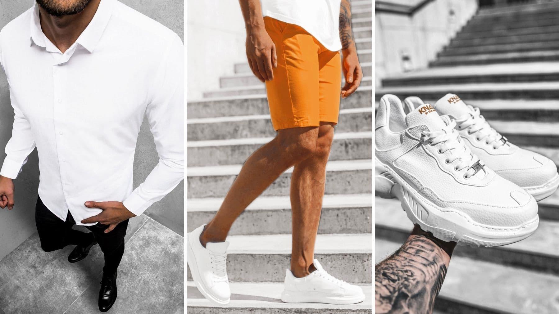 biała koszula, camelowe spodenki chinos, sneakersy białe ozonee