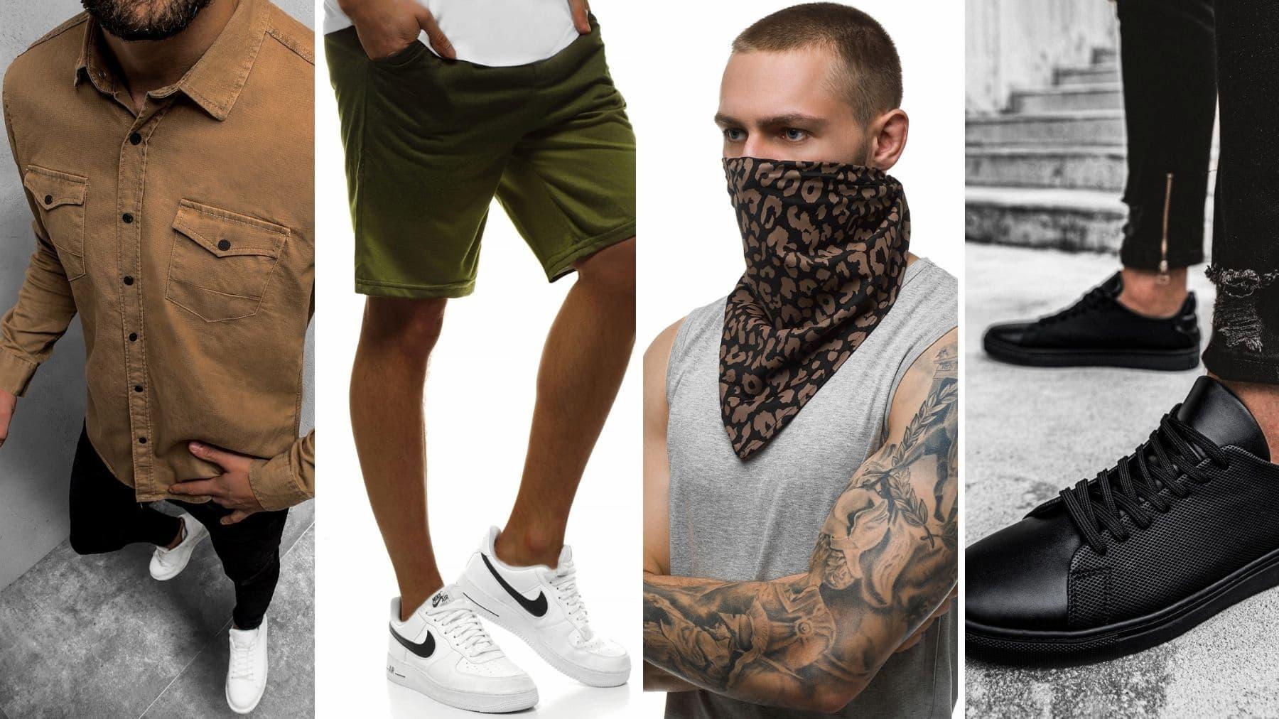 koszula męska beżowa ozonee, spodenki męskie ozonee, bandana męska ozonee, sneakersy czarne ozonee