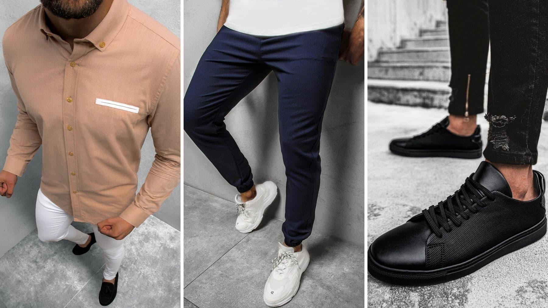 koszula męska długi rękaw ozonee, spodnie męskie chino jogger ozonee, sneakersy czarne ozonee