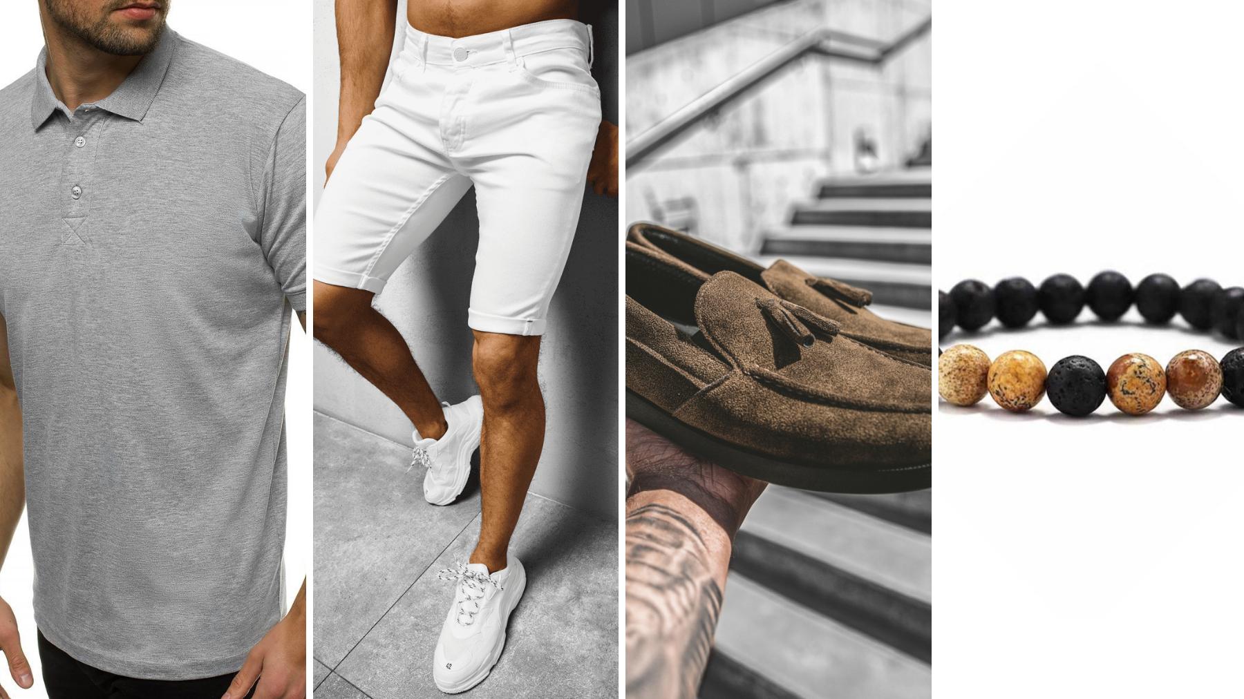 koszula męska polo szara ozonee, ubranie na lato, ubranie na upał, lato ubranie, spodenki męskie jeansowe białe, buty slip on brązowe, bransoletka męska koralikowa