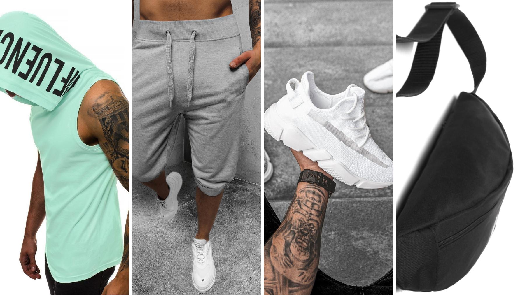 koszula polo, krótkie spodenki dresowe, nerka, białe sneakersy ozonee