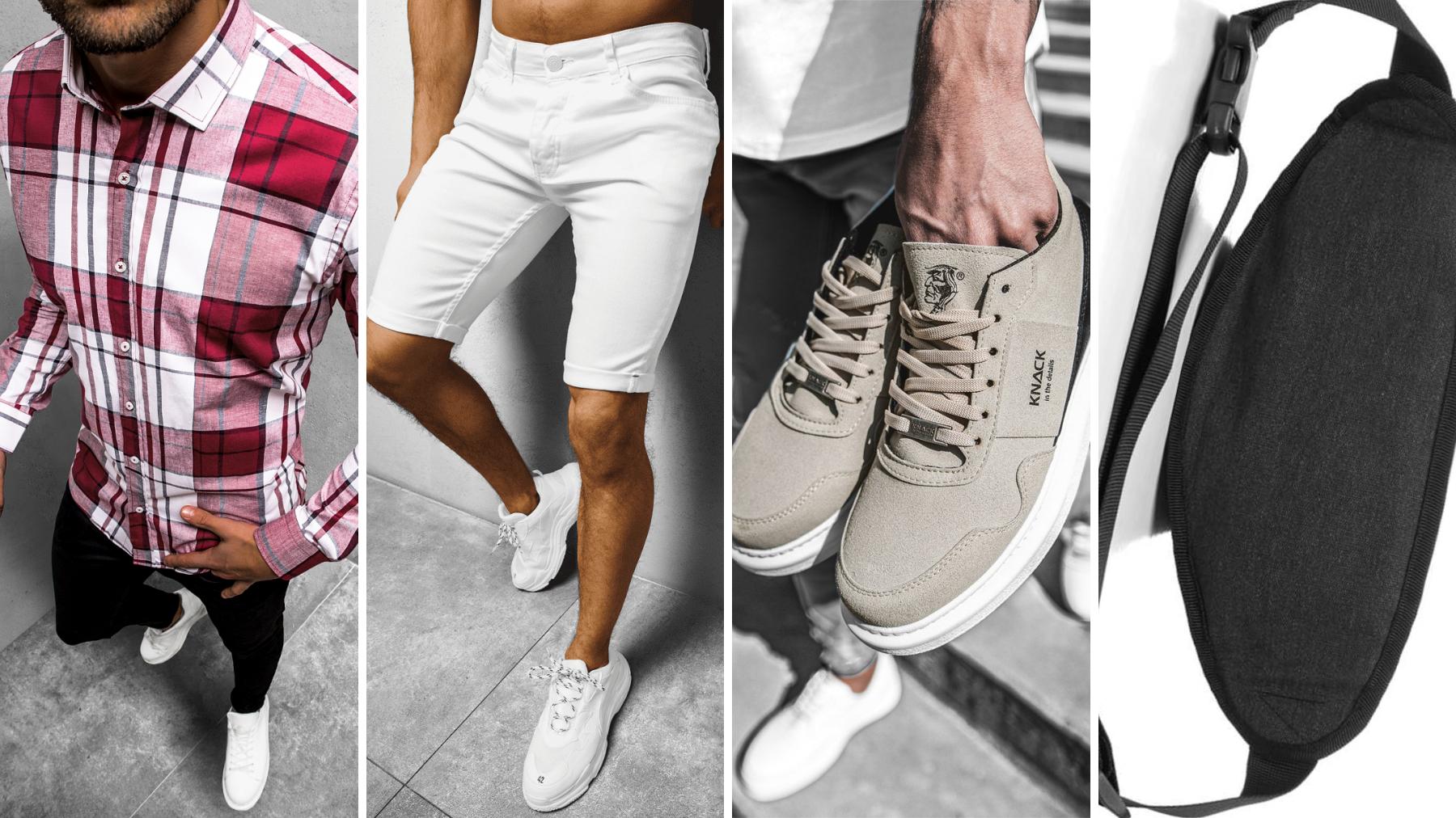 Pomysł na randkę w plenerze, koszula męska, spodenki jeansowe, sneakersy ozonee, saszetka nerka