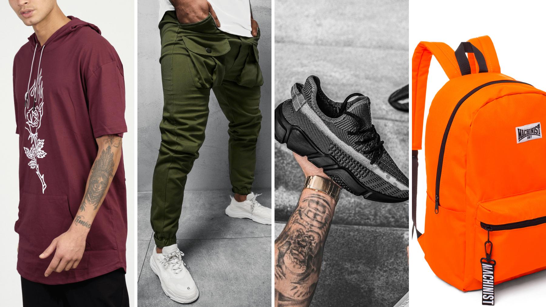 randka w plenerze, t-shirt z kapturem, spodnie chino joggery, sneakersy, plecak ozonee