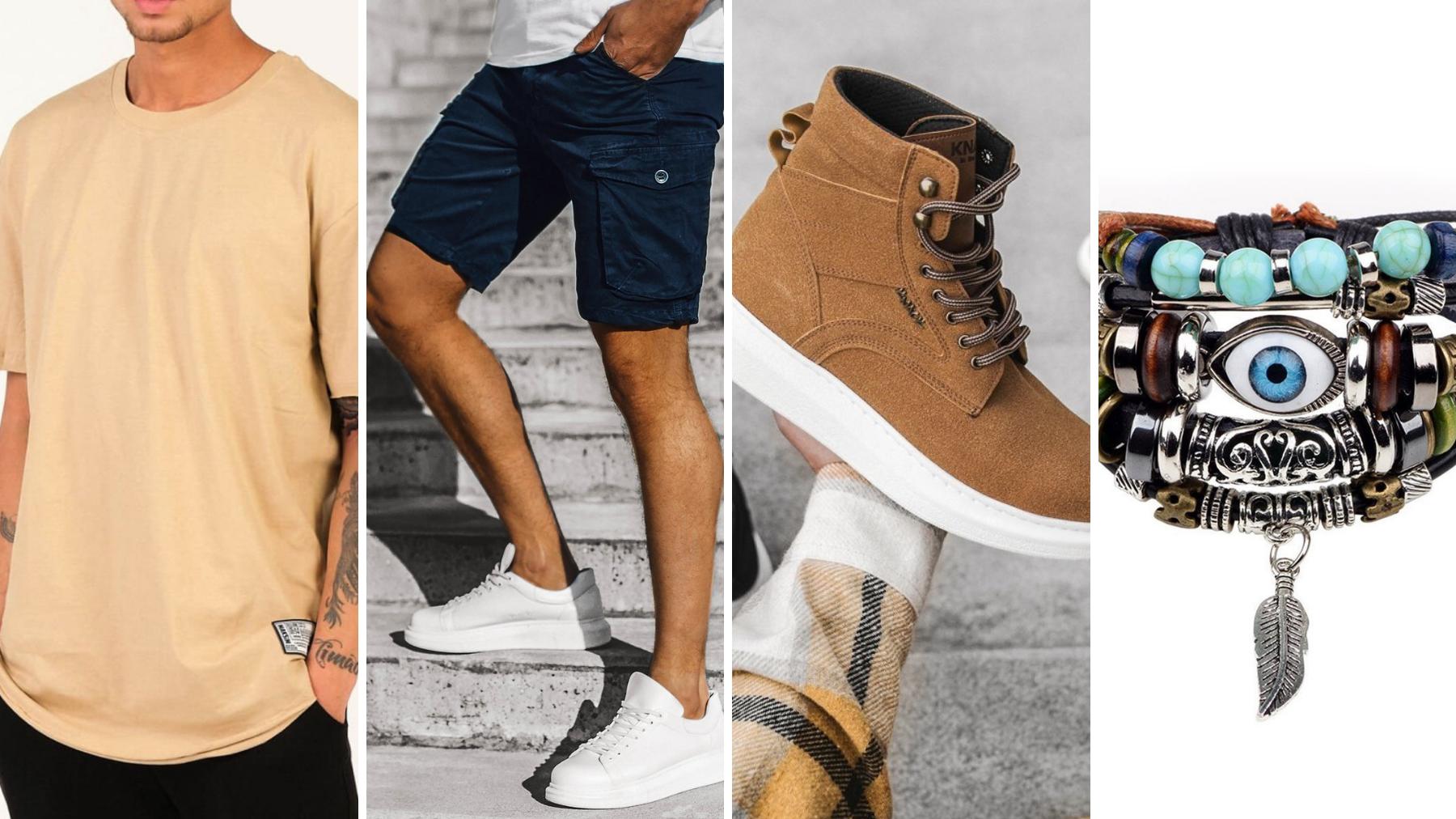 pomysły na randkę, spodenki męski, t-shirt beżowy ozonee, bransoletka męska, sneakersy wysokie